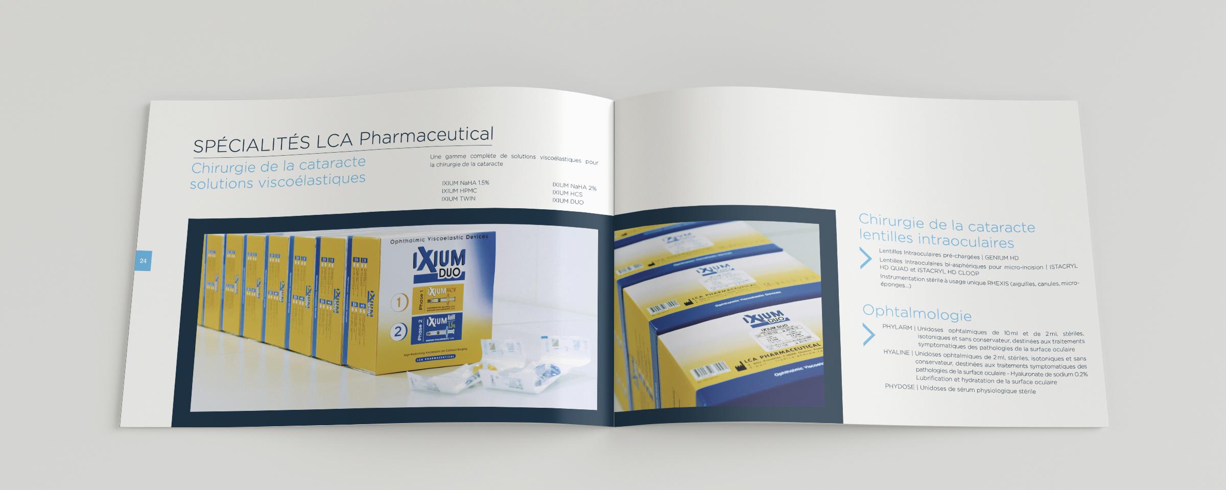 Conception et mise en page d'une brochure pour LCA Pharmaceutical