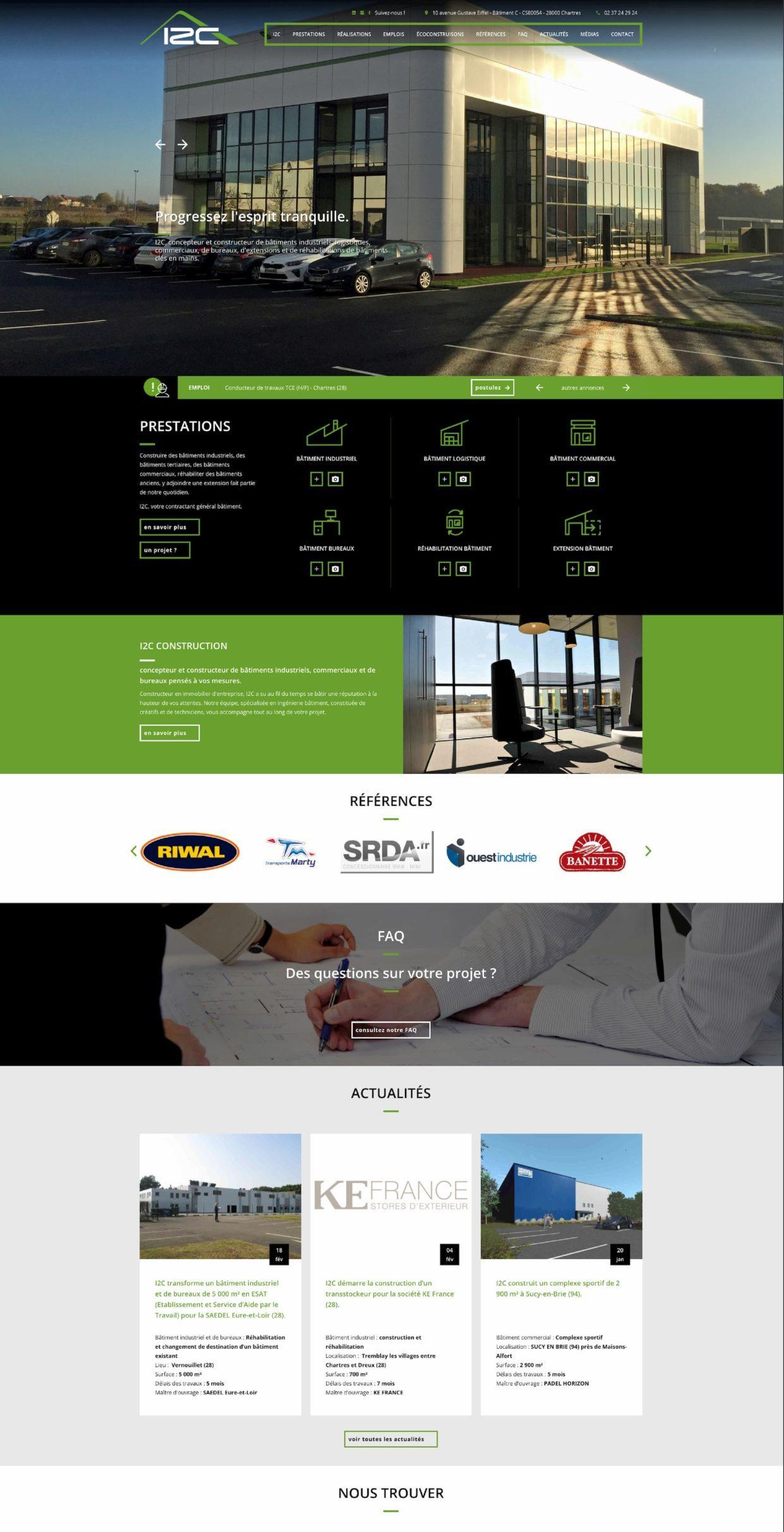 Création de site web pour le contractant général I2C Construction