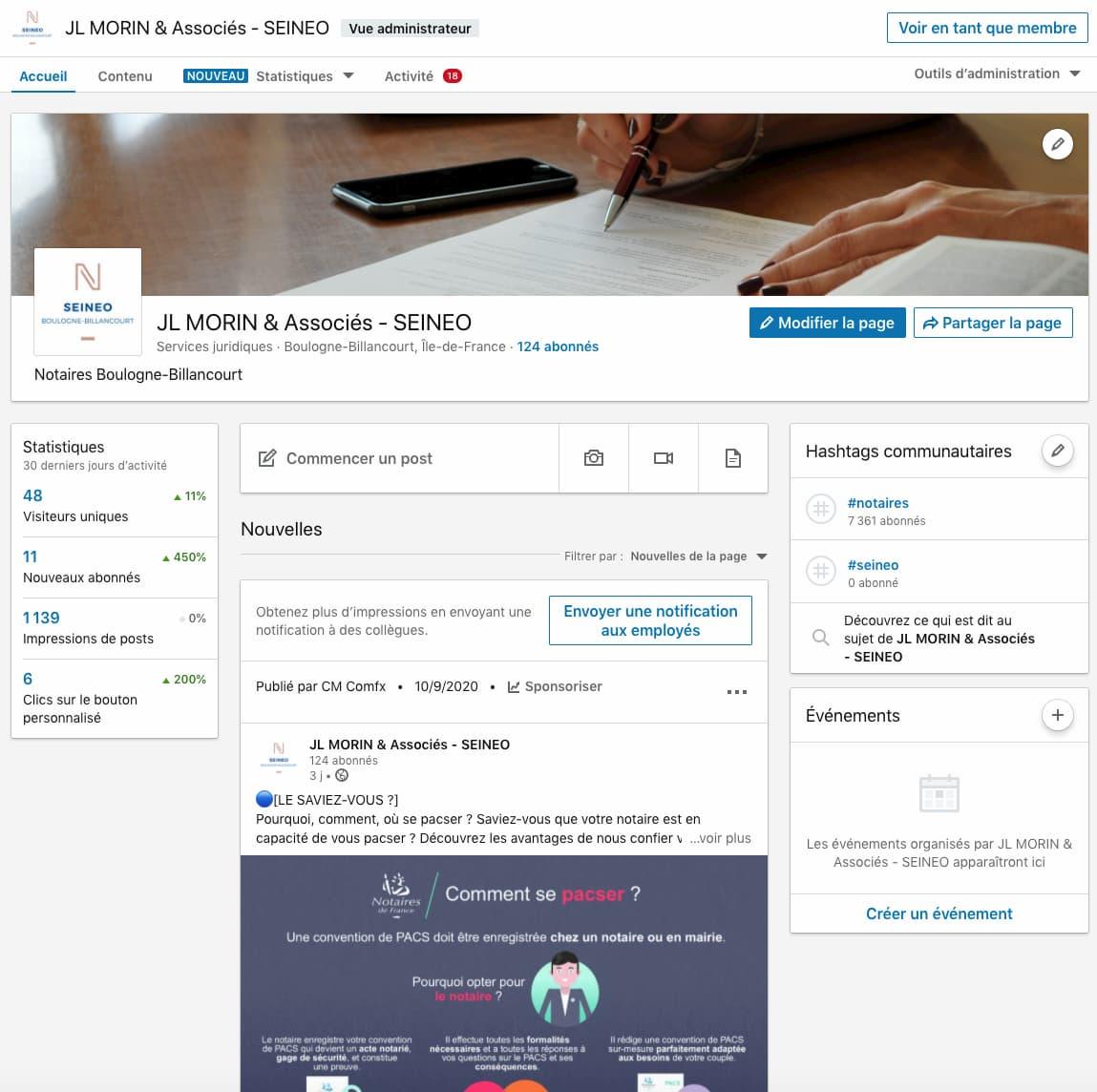 Activation et animation réseaux sociaux de la page LinkedIn SEINEO Notaires